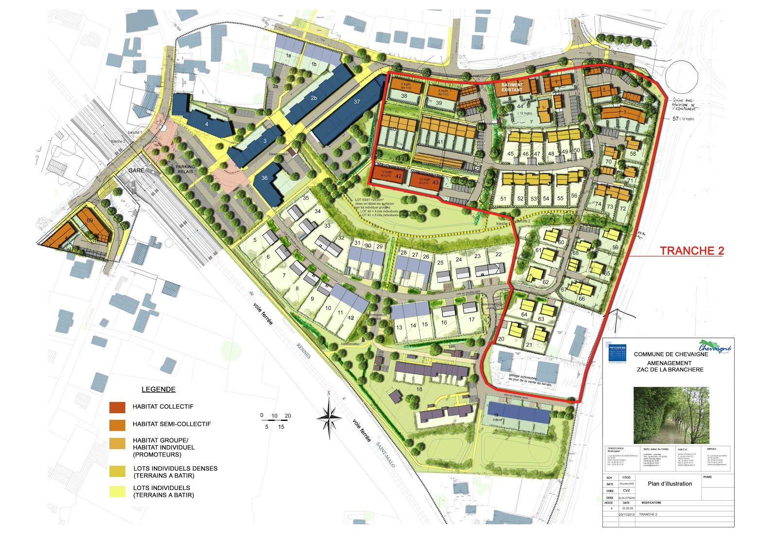 Plan de masse de la ZAC de La Branchère Source : Territoires