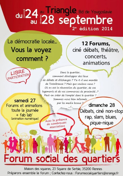 Affiche Forum des quartiers - 24-28 sept 2014