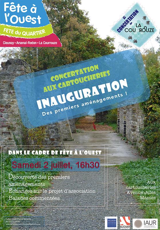 Affiche inauguration nouveaux aménagementscartoucheries 2 juillet 2016